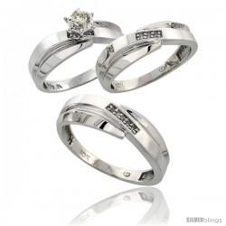 10k White Gold Diamond Trio Wedding Ring Set His 7mm & Hers 6mm
