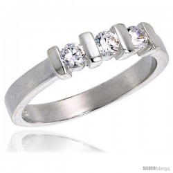 Sterling Silver 0.50 Carat Size Brilliant Cut Cubic Zirconia Bridal Ring, 1/8 in (3.5 mm) wide