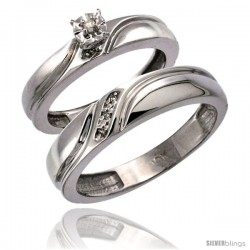 10k White Gold 2-Pc Diamond Ring Set (4mm Engagement Ring & 5mm Man's Wedding Band), w/ 0.049 Carat Brilliant Cut Diamonds