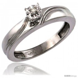 10k White Gold Diamond Engagement Ring w/ 0.03 Carat Brilliant Cut Diamonds, 5/32 in. (4mm) wide