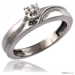 10k White Gold Diamond Engagement Ring w/ 0.03 Carat Brilliant Cut Diamonds, 5/32 in. (4mm) wide