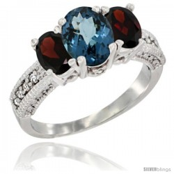 14k White Gold Ladies Oval Natural London Blue Topaz 3-Stone Ring with Garnet Sides Diamond Accent