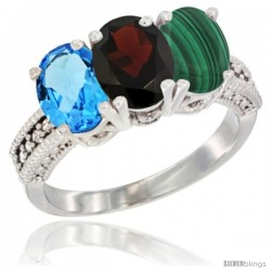 14K White Gold Natural Swiss Blue Topaz, Garnet & Malachite Ring 3-Stone 7x5 mm Oval Diamond Accent