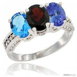 14K White Gold Natural Swiss Blue Topaz, Garnet & Tanzanite Ring 3-Stone 7x5 mm Oval Diamond Accent