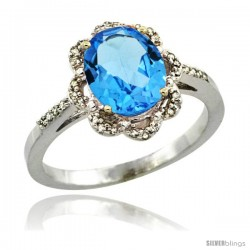 14k White Gold Diamond Halo Blue Topaz Ring 1.65 Carat Oval Shape 9X7 mm, 7/16 in (11mm) wide
