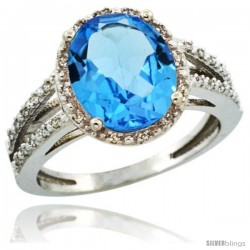 14k White Gold Diamond Halo Blue Topaz Ring 2.85 Carat Oval Shape 11X9 mm, 7/16 in (11mm) wide