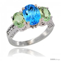 14K White Gold Ladies 3-Stone Oval Natural Swiss Blue Topaz Ring with Green Amethyst Sides Diamond Accent