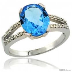 14k White Gold and Diamond Halo Blue Topaz Ring 2.4 carat Oval shape 10X8 mm, 3/8 in (10mm) wide