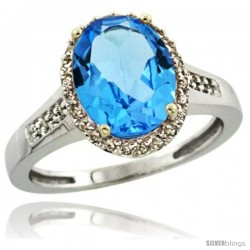 14k White Gold Diamond Swiss Blue Topaz Ring 2.4 ct Oval Stone 10x8 mm, 1/2 in wide
