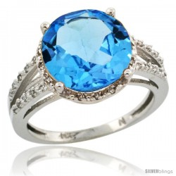 14k White Gold Diamond Swiss Blue Topaz Ring 5.25 ct Round Shape 11 mm, 1/2 in wide