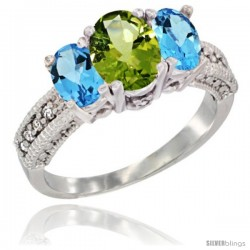 14k White Gold Ladies Oval Natural Peridot 3-Stone Ring with Swiss Blue Topaz Sides Diamond Accent