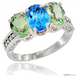 14K White Gold Natural Swiss Blue Topaz & Green Amethyst Ring 3-Stone 7x5 mm Oval Diamond Accent