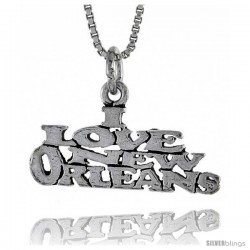 Sterling Silver I LOVE NEW ORLEANS Word Necklace, w/ 18 in Box Chain