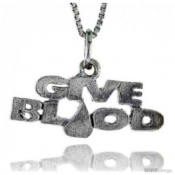 Sterling Silver GIVE BLOOD Word Necklace, w/ 18 in Box Chain