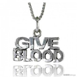Sterling Silver GIVE BLOOD Word Necklace, w/ 18 in Box Chain -Style Tpo121