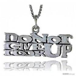 Sterling Silver DO NOT GIVE UP, LOOK UP Word Necklace, w/ 18 in Box Chain