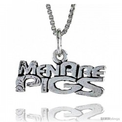 Sterling Silver MEN ARE PIGS Word Necklace, w/ 18 in Box Chain