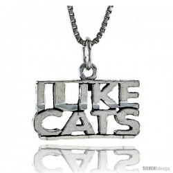 Sterling Silver I LIKE CATS Word Necklace, w/ 18 in Box Chain
