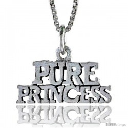 Sterling Silver PURE PRINCESS Word Necklace, w/ 18 in Box Chain