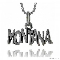 Sterling Silver MONTANA Word Necklace, w/ 18 in Box Chain