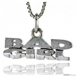 Sterling Silver BAD GIRL Word Necklace, w/ 18 in Box Chain