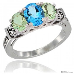 14K White Gold Natural Swiss Blue Topaz & Green Amethyst Ring 3-Stone Oval with Diamond Accent