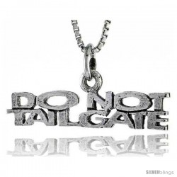 Sterling Silver DO NOT TAILGATE Word Necklace, w/ 18 in Box Chain