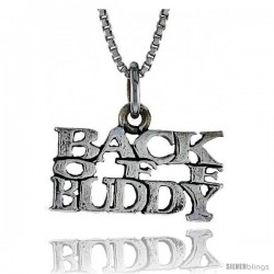 Sterling Silver BUCK OFF BUDDY Word Necklace, w/ 18 in Box Chain