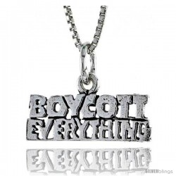 Sterling Silver BOYCOTT EVERYTHING Word Necklace, w/ 18 in Box Chain