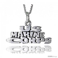 Sterling Silver US MARINE CORPS Word Necklace, w/ 18 in Box Chain
