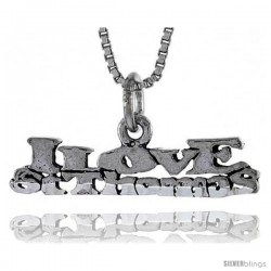 Sterling Silver I LOVE ST. THOMAS Word Necklace, w/ 18 in Box Chain