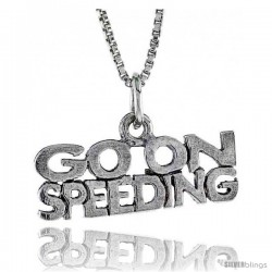 Sterling Silver GO ON SPEEDING Word Necklace, w/ 18 in Box Chain
