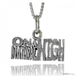 Sterling Silver ON A NATURAL HIGH Word Necklace, w/ 18 in Box Chain