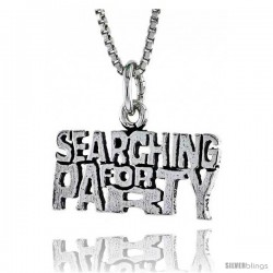 Sterling Silver SEARCHING FOR PARTY Word Necklace, w/ 18 in Box Chain