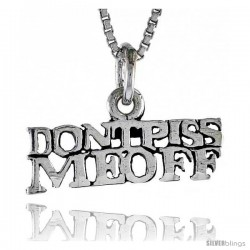 Sterling Silver DON'T PISS ME OFF Word Necklace, w/ 18 in Box Chain