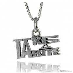 Sterling Silver TAKE A BITE Word Necklace, w/ 18 in Box Chain