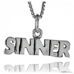 Sterling Silver SINNER Word Necklace, w/ 18 in Box Chain