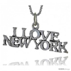 Sterling Silver I LOVE NEW YORK Word Necklace, w/ 18 in Box Chain