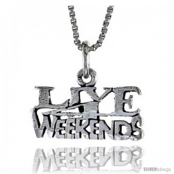 Sterling Silver LIVE WEEKENDS Word Necklace, w/ 18 in Box Chain