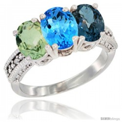 14K White Gold Natural Green Amethyst, Swiss Blue Topaz & London Blue Topaz Ring 3-Stone 7x5 mm Oval Diamond Accent