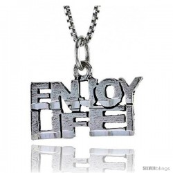 Sterling Silver ENJOY LIFE Word Necklace, w/ 18 in Box Chain