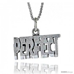 Sterling Silver PERFECT Word Necklace, w/ 18 in Box Chain