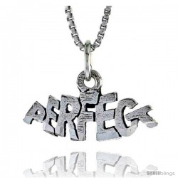 Sterling Silver PERFECT Word Necklace, w/ 18 in Box Chain -Style Tpo154