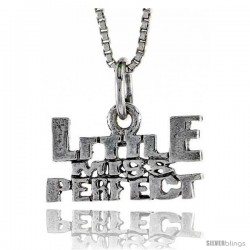 Sterling Silver LITTLE MISS PERFECT Word Necklace, w/ 18 in Box Chain