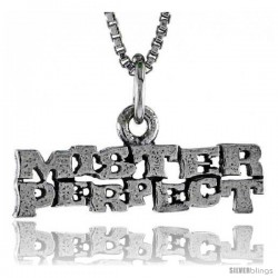 Sterling Silver MISTER PERFECT Word Necklace, w/ 18 in Box Chain