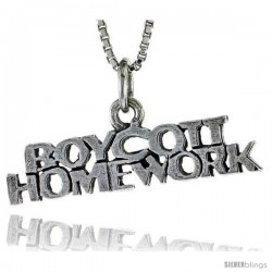 Sterling Silver BOYVOTT HOMEWORK Word Necklace, w/ 18 in Box Chain