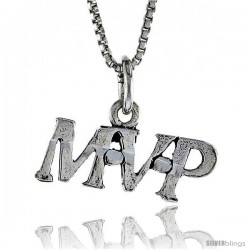 Sterling Silver MVP Word Necklace, w/ 18 in Box Chain