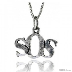 Sterling Silver SOS Word Necklace, w/ 18 in Box Chain