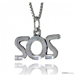 Sterling Silver SOS Word Necklace, w/ 18 in Box Chain -Style Tpo163