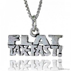 Sterling Silver FLAT TAX FAST Word Necklace, w/ 18 in Box Chain